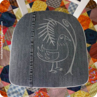 Drop-Dead Denim: Fern 'n Bird Chair Cushion