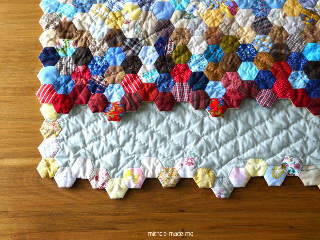 A Hexagon Quilt Finish: Hexistential - Michele Made Me : how to quilt a hexagon quilt - Adamdwight.com