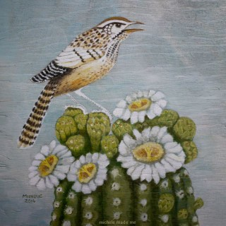 Colouring Page Painting: Cactus Wren on a Saguaro Cactus