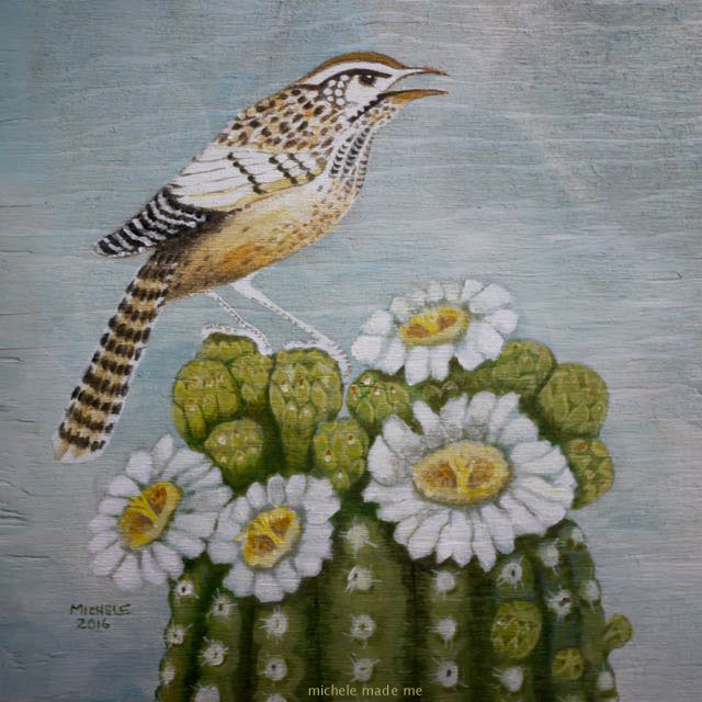 Colouring page painting of cactus wren @ Michele Made Me
