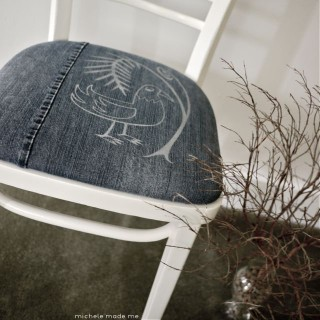 Tutorial: Fern 'n Bird Stenciled Denim Chair