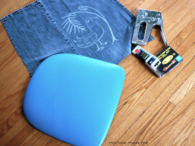 Getting ready for re-upholstering denim chair Michele Made Me